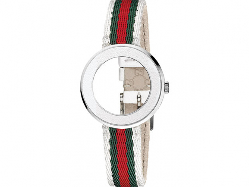 GUCCI LDS CREAM BAND WITH GREEN/RED STRAP AND WHITE BEZEL by Gucci