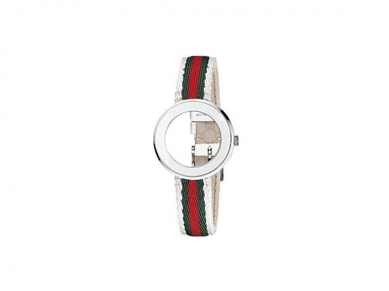 GUCCI LDS SMALL WHITE LEATHER BAND WITH LOGO AND WHITE BEZEL by Gucci
