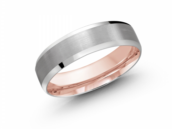 10K White Gold Brushed with High Polished Edge Band by Gary & David Wedding Band Collection