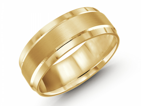 10K Yellow Gold Brushed Thick Edge Band by Gary & David Wedding Band Collection