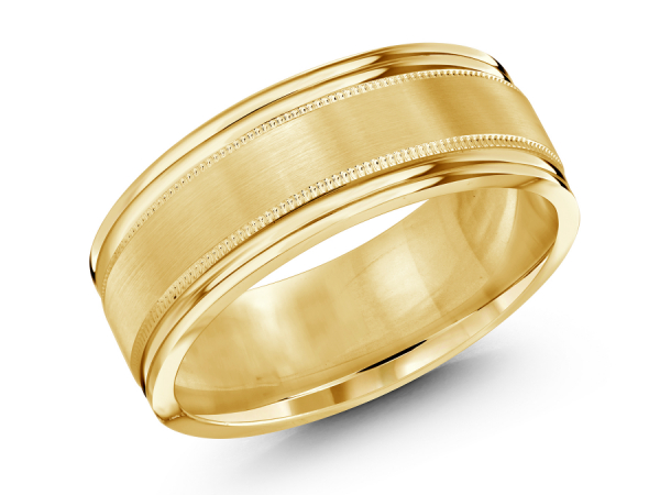 10K Yellow Gold Brushed with Beaded Edge Band by Gary & David Wedding Band Collection