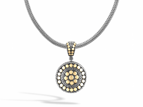 John Hardy Small Round Enhancer pendant in gold and silver by John Hardy